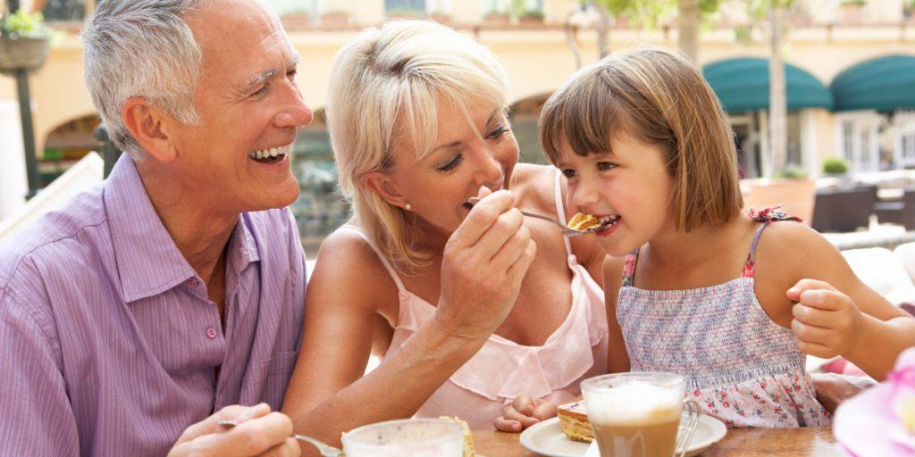 Pensioners Enjoying Debt Free Life with Grandchild